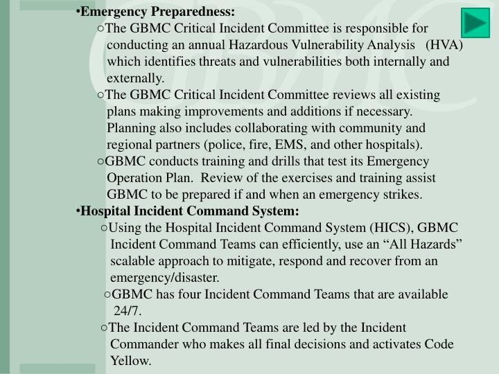 Emergency Preparedness: