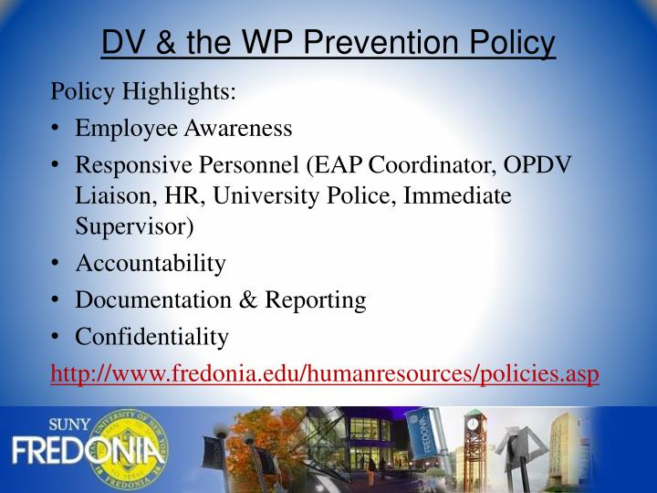 DV & the WP Prevention Policy