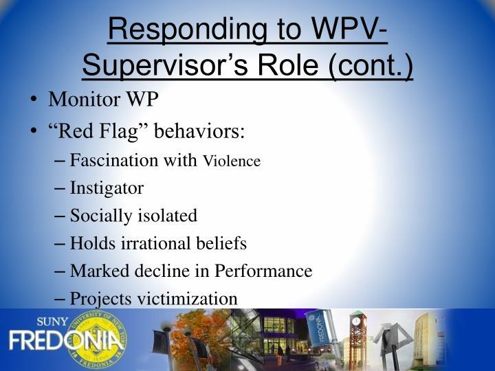 Responding to WPV-Supervisor's Role (cont.)