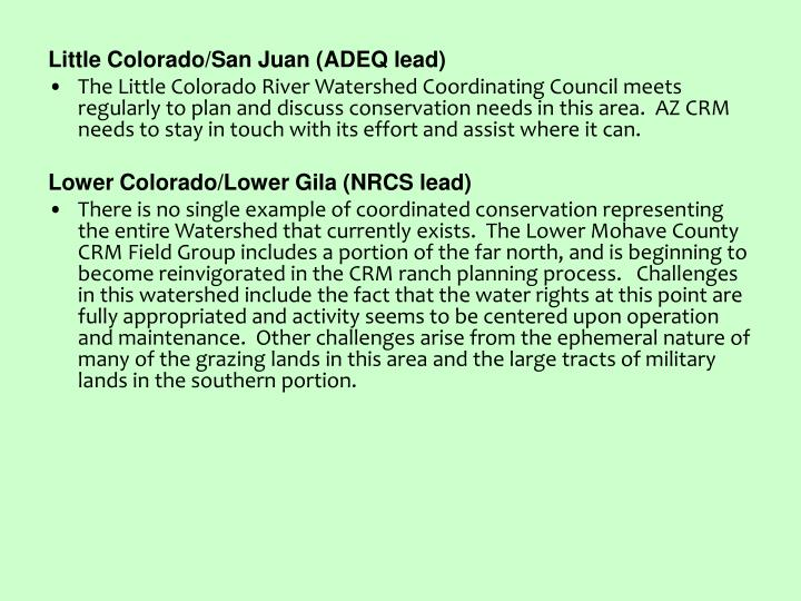 Little Colorado/San Juan (ADEQ lead)