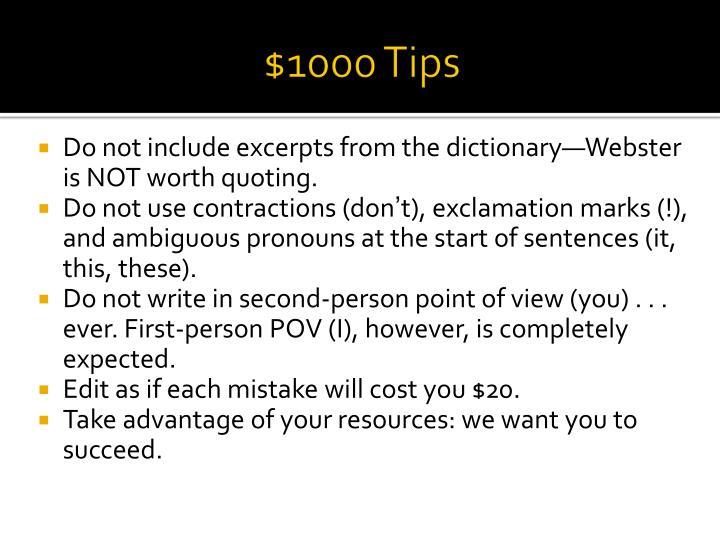 $1000 Tips