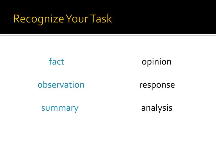 Recognize Your Task
