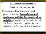 1122 program authority