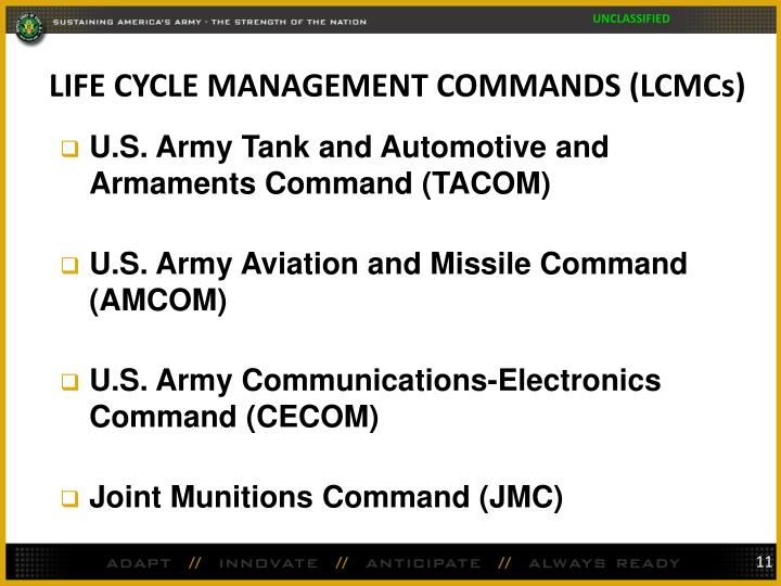 LIFE CYCLE MANAGEMENT COMMANDS (LCMCs)