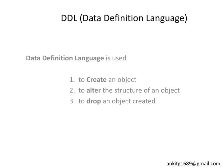ddl data definition language