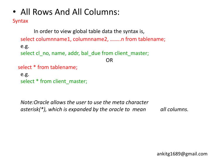 All Rows And All Columns: