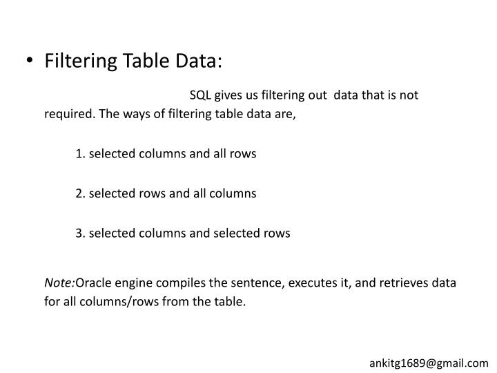 Filtering Table Data: