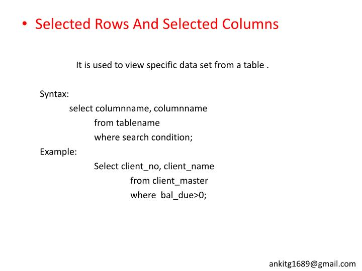 Selected Rows And Selected Columns
