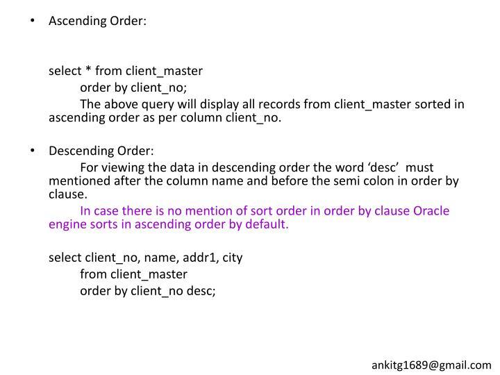 Ascending Order: