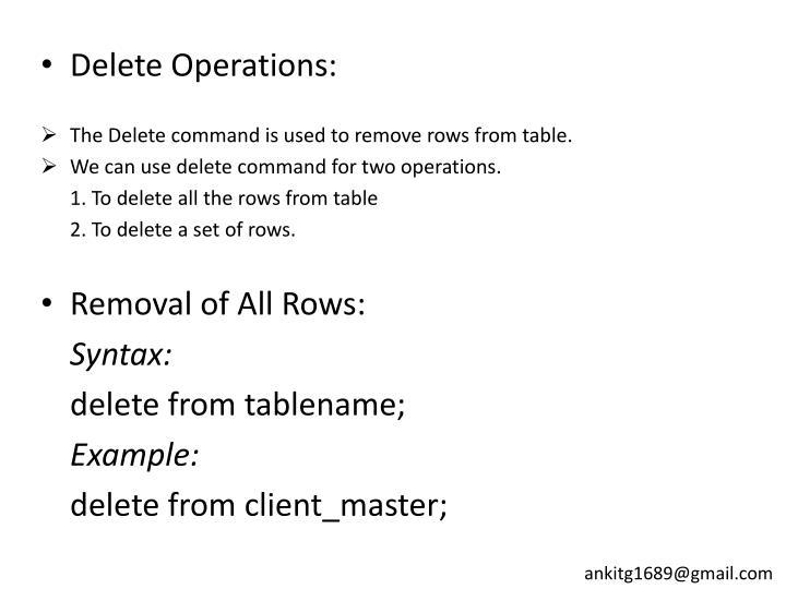 Delete Operations: