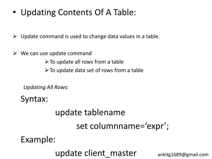 Updating Contents Of A Table: