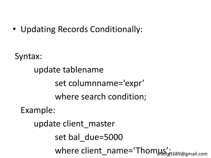 Updating Records Conditionally: