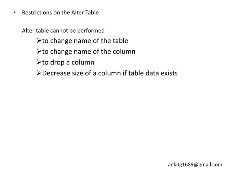 Restrictions on the Alter Table: