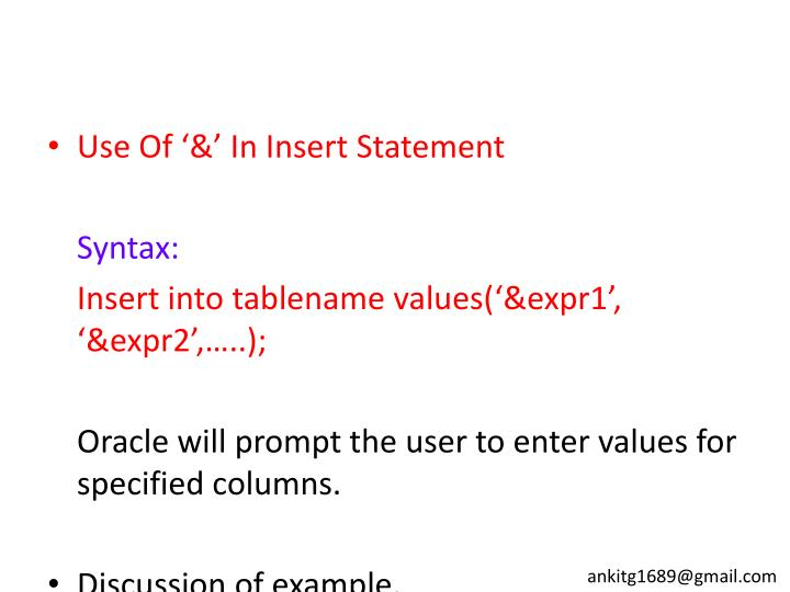 Use Of '&' In Insert Statement