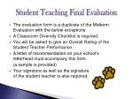student teaching final evaluation
