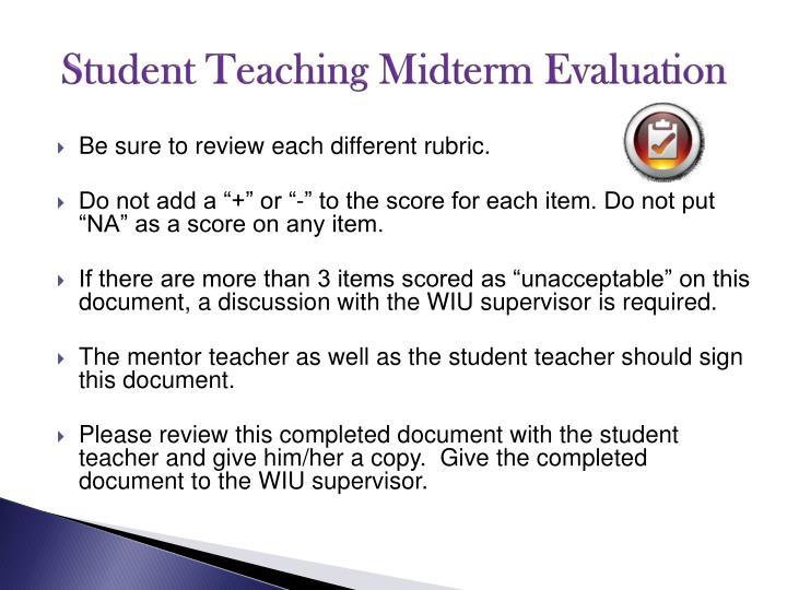 Student Teaching Midterm Evaluation