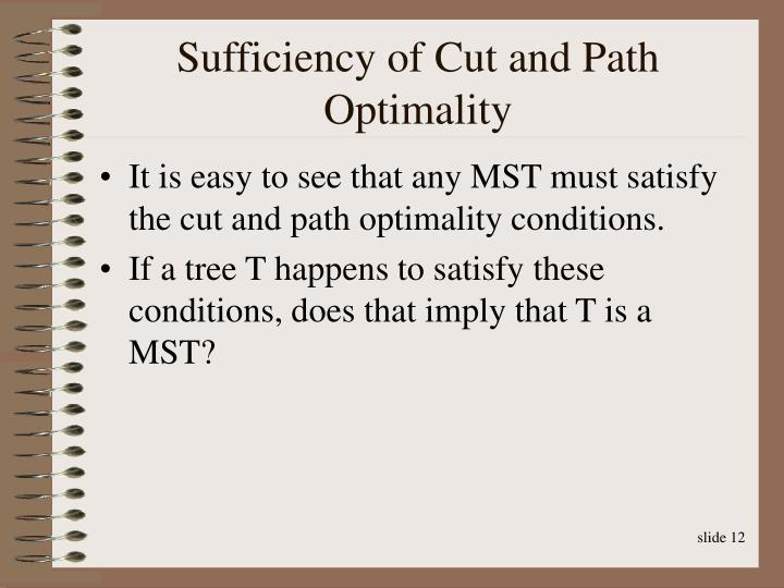 Sufficiency of Cut and Path Optimality