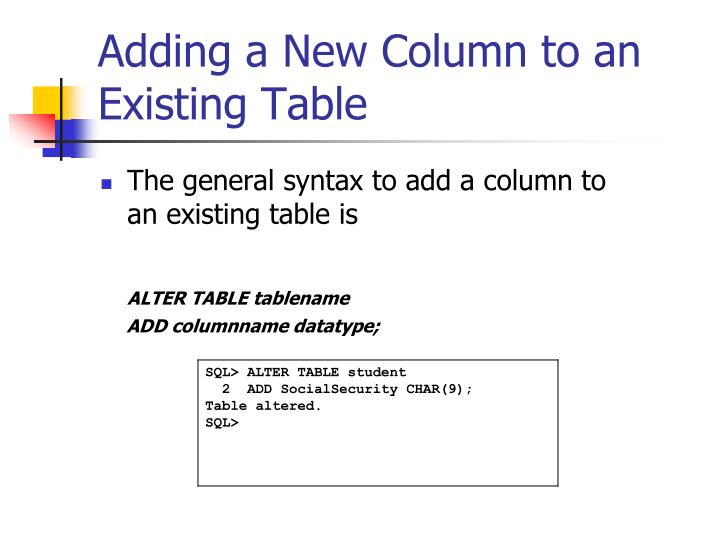 Adding a New Column to an Existing Table