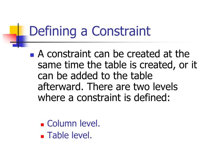 Defining a Constraint