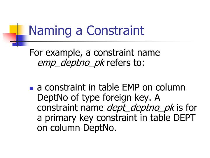 Naming a Constraint