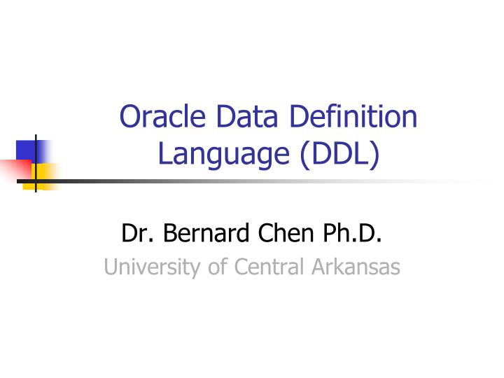 Oracle data definition language ddl