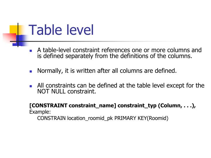 Table level