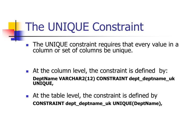 The UNIQUE Constraint