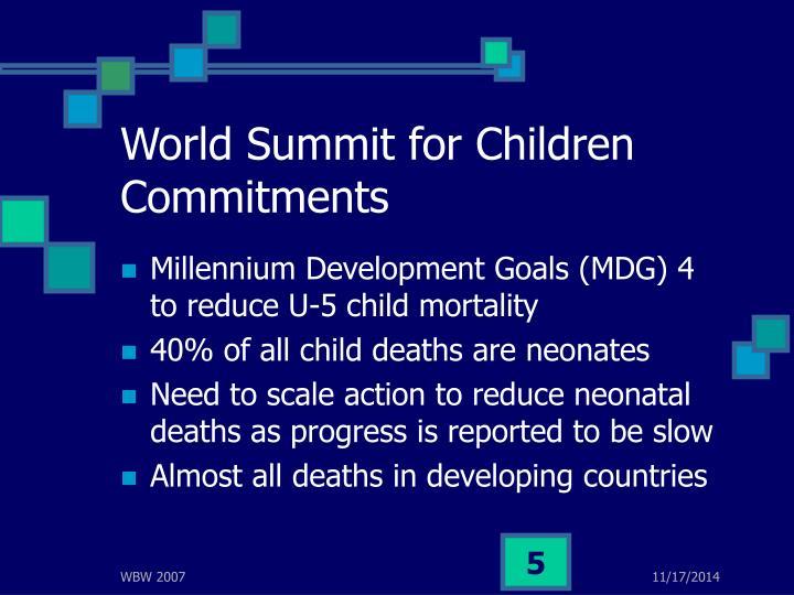 World Summit for Children Commitments