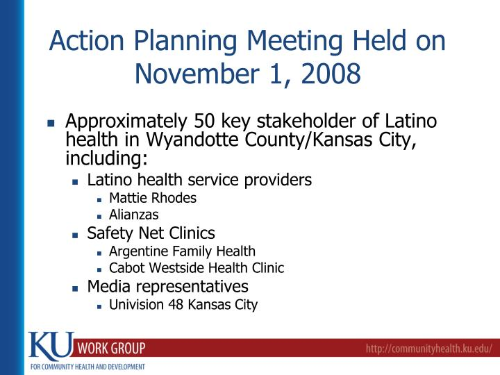 Action Planning Meeting Held on November 1, 2008