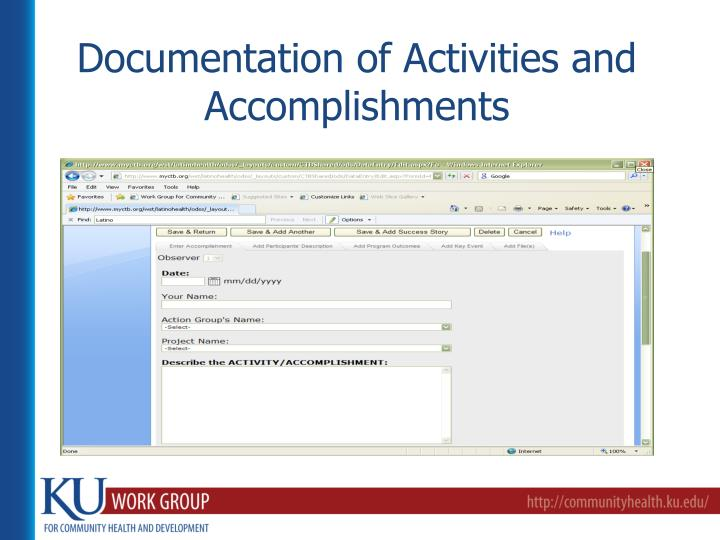 Documentation of Activities and Accomplishments