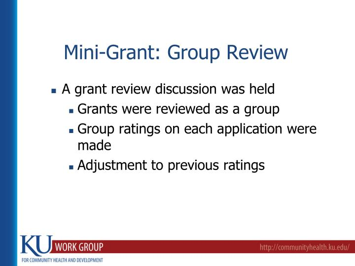 Mini-Grant: Group Review
