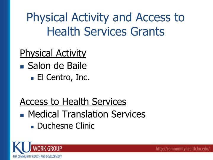 Physical Activity and Access to Health Services Grants