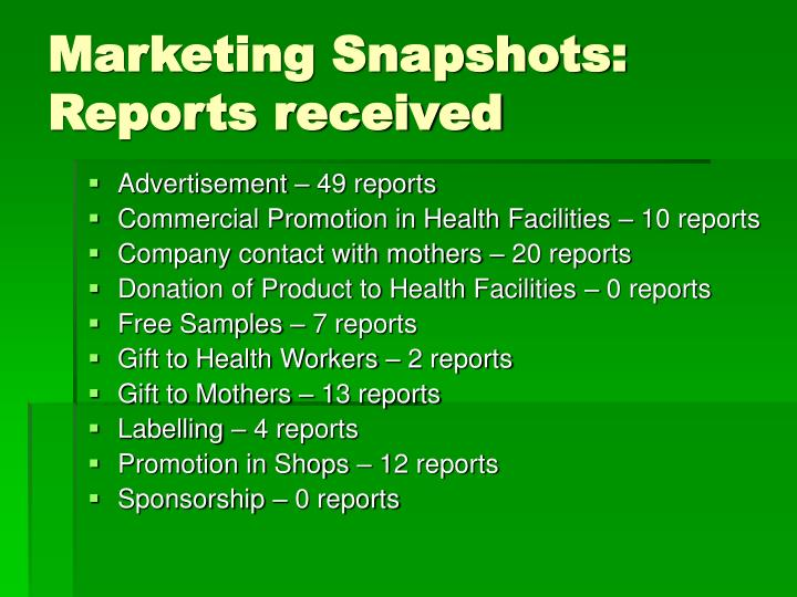 Marketing Snapshots: Reports received