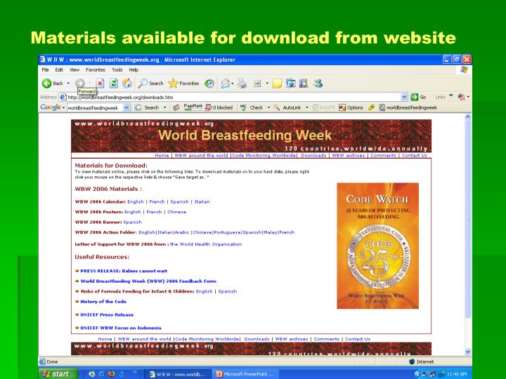Materials available for download from website