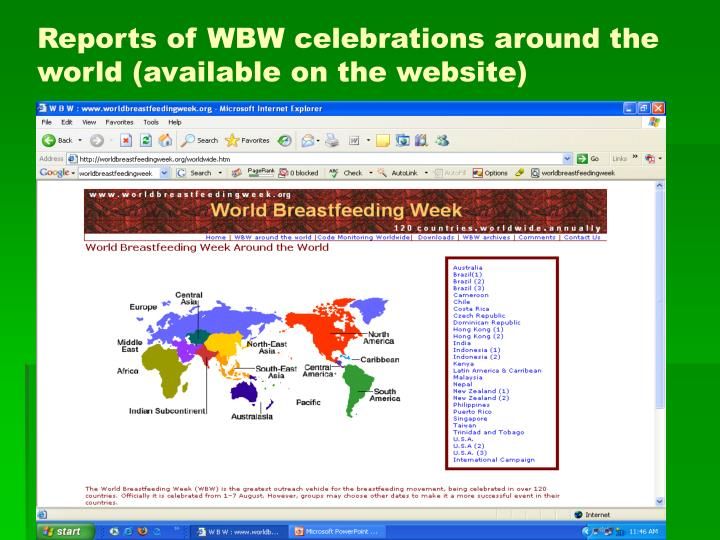Reports of WBW celebrations around the world (available on the website)