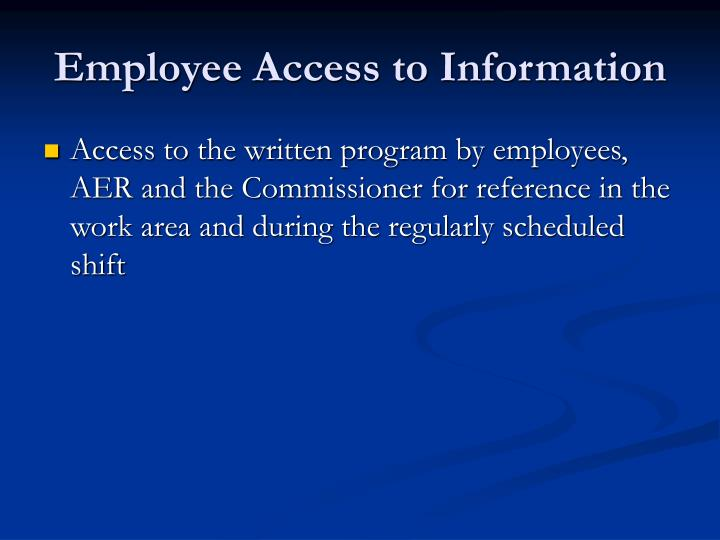 Employee Access to Information