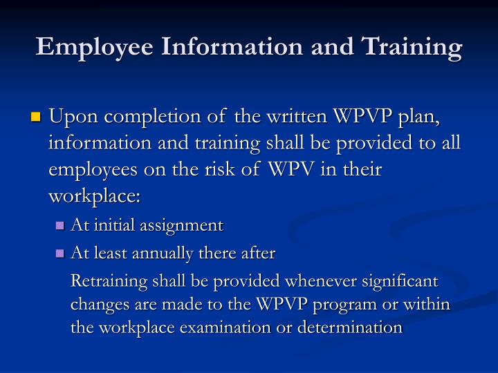 Employee Information and Training