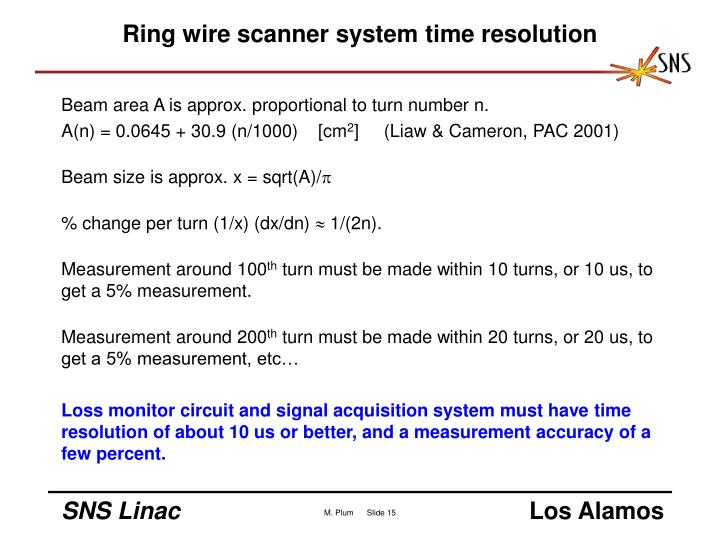 Ring wire scanner system time resolution