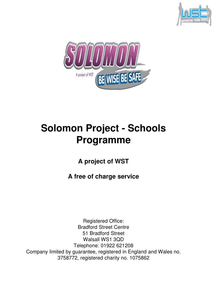 Solomon Project - Schools Programme
