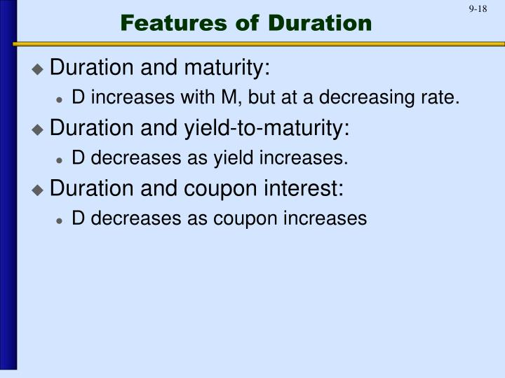 Features of Duration