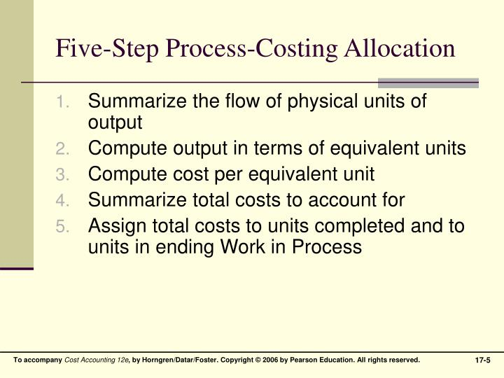 Five-Step Process-Costing Allocation