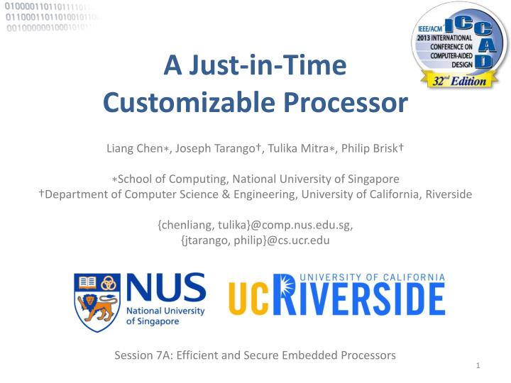 a just in time customizable processor