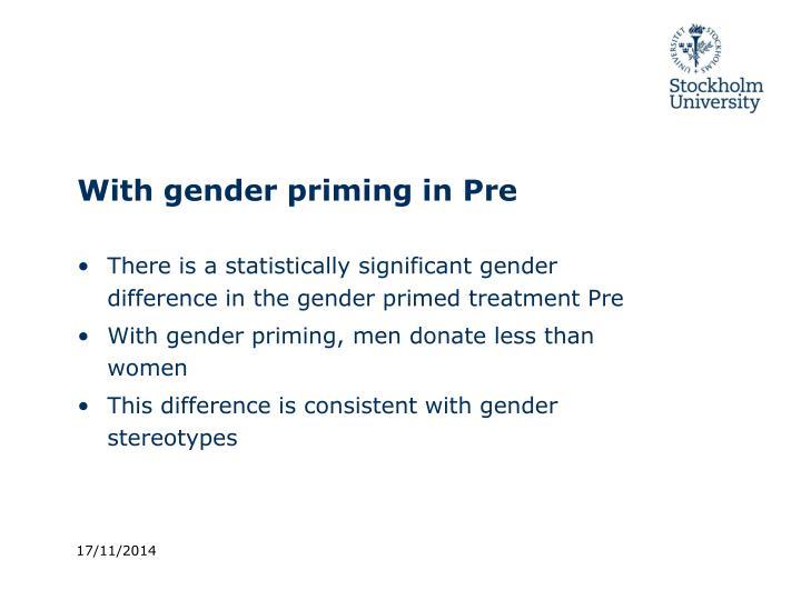 With gender priming in Pre