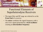 functional elements of superheterodyne receivers