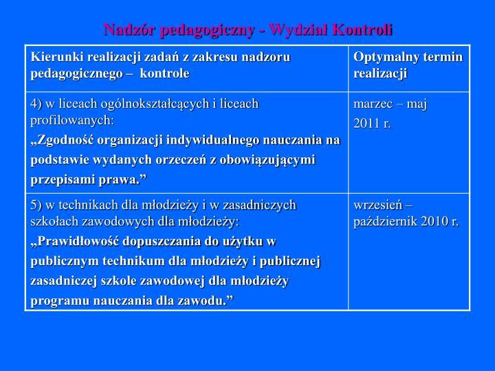 Nadzór pedagogiczny - Wydział Kontroli