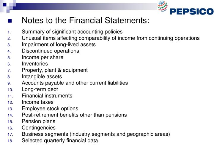 Notes to the Financial Statements: