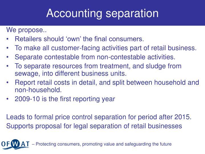 Accounting separation