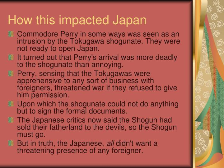 How this impacted Japan