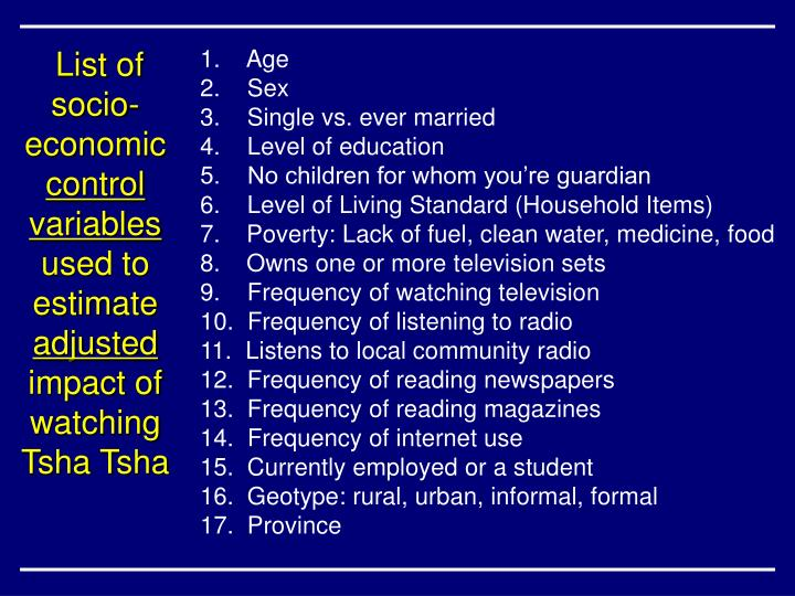 List of socio-economic