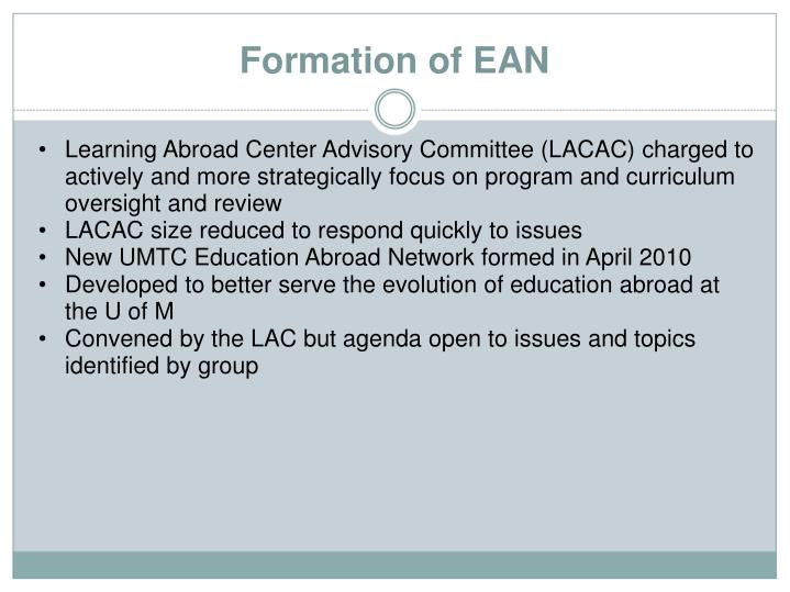 Learning Abroad Center Advisory Committee (LACAC) charged to actively and more strategically focus on program and curriculum oversight and review